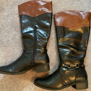 Rampage Ilissa Black/Cognac riding style boots